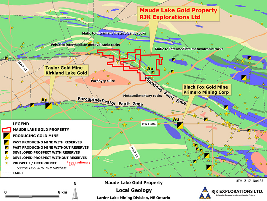 Local Geology Map of Maude Lake Gold Property