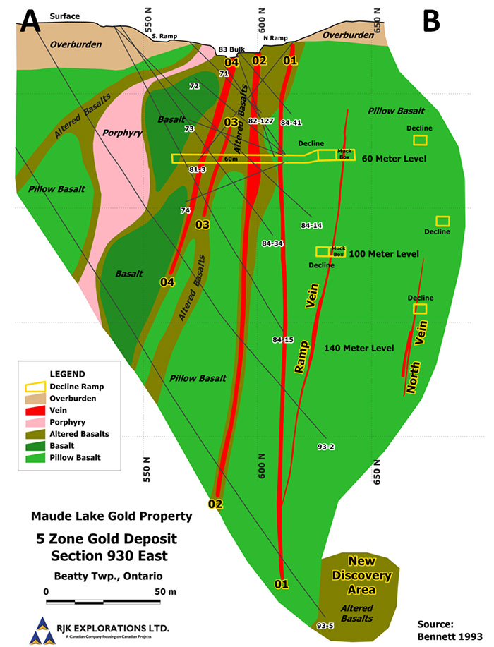 5 Zone Gold Deposit Section 930 East Maude Lake Gold Property