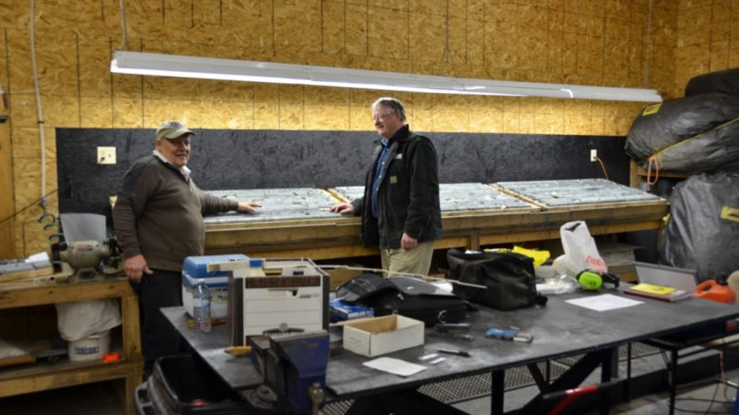 Doug LaLonde (L) and Bill MacCrae (R) with drill core